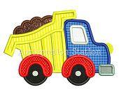 Cute Full Dump Truck Applique Machine Embroidery Design boy construction vehicle car INSTANT DOWNLOAD