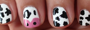 Cow nail art design. This makes me think of my best friend!