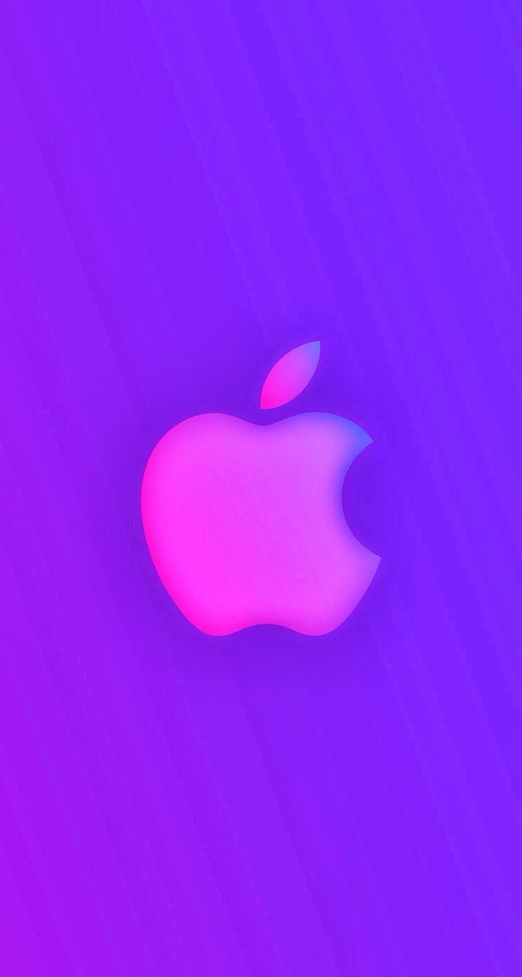 iPhone 5 Wallpaper Apple logo blue purple parallax