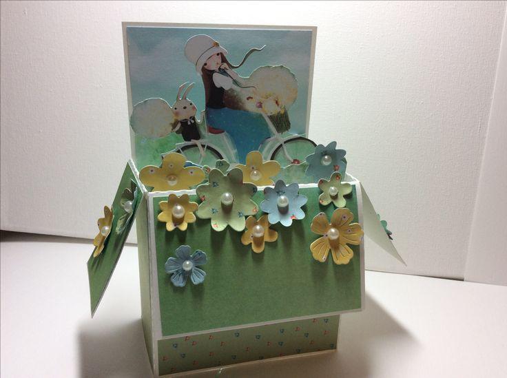 Box card made with Santoro Kori kumi paper pad and flower dies.
