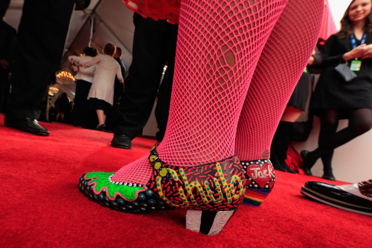 La Marisoul (shoe detail) of the group La Santa Cecilia attends the 56th GRAMMY Awards at Staples Center on January 26, 2014 in Los Angeles, California.