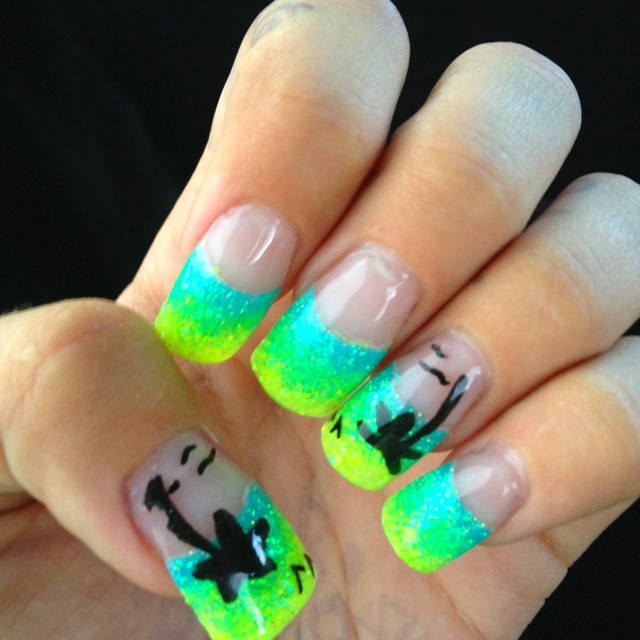 Nails nails nails acrylic neon glitter blehh I effing love it
