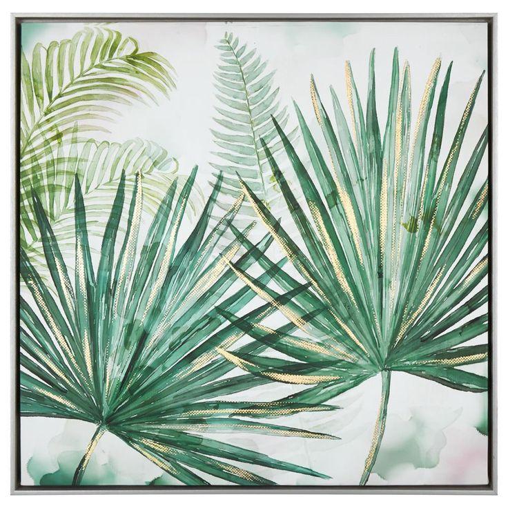 Palm Branch Printed Framed Art with Foil Embellishment