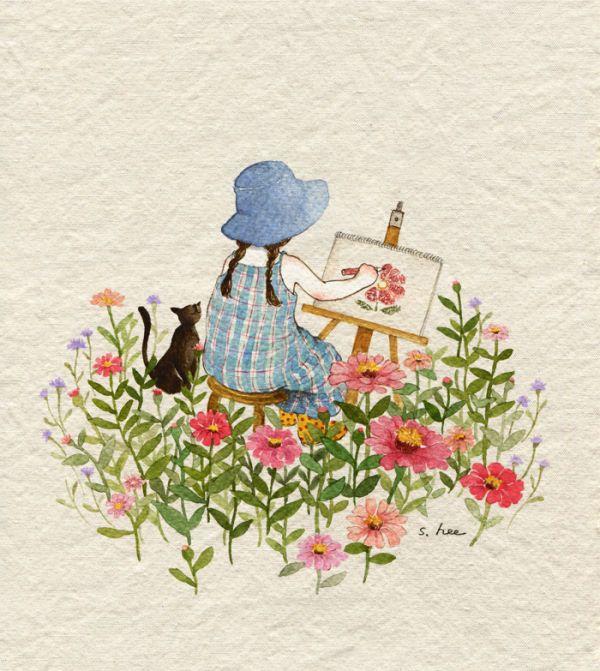 그 땐... 틈만 나면 스케치북을 들고 밖에 나가 그림을 그렸습니다. 마당에 핀 꽃들, 짙푸른 산과 하늘의 구름, 논과 밭 사이를 날아드는 새들... 눈에 보이는 모습 모습마다 너무나 아름다워  서투른 그림으로라도 남기지 않고서는 못배길 정도였거든요... 그리고 싶은 하루하루의 풍경은 너무나 많고... 내 작은 손으로는 그것들을 다 그릴 수 없었기에 시간이 많이 흐르고 난 지금에도 나는 그 때의 풍경을 이렇게 그리고 있나봅니다......