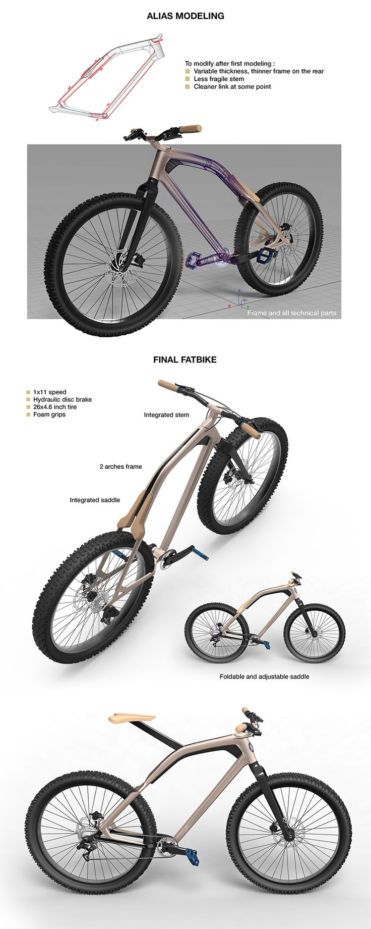 """Fatbike for automotive brand VOLVO. Be safe, Be free : the bike is working everywhere. There are a foldable saddle to easily move the bike on a bike rack.This concept is part of """"2027 - Volvo NextGen Project""""."""