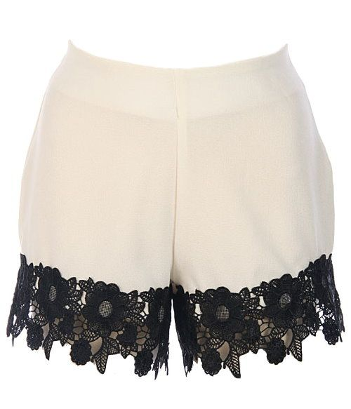 Lace Lover Shorts: Features clean minimalist lines with a hidden side zip closure, delicate doily lace contrast trim decorating the hem, and a pocket-free backside to finish.