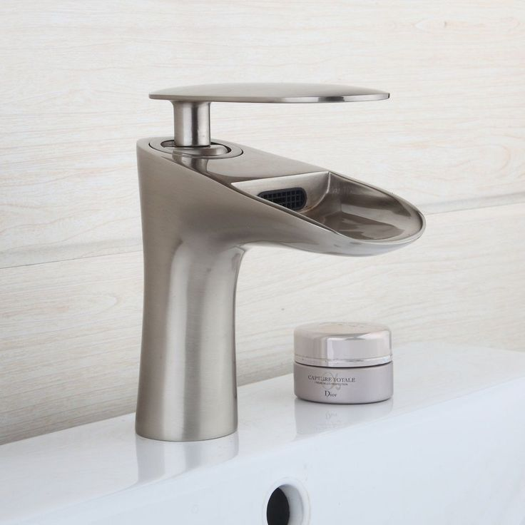 Nickel Brushed Bathroom Waterfall Faucet Without Cover Sink Basin Mixer Tap.  Hole Dimension: Complete With Hot U0026 Cold Water Hoses U0026 Accessories.