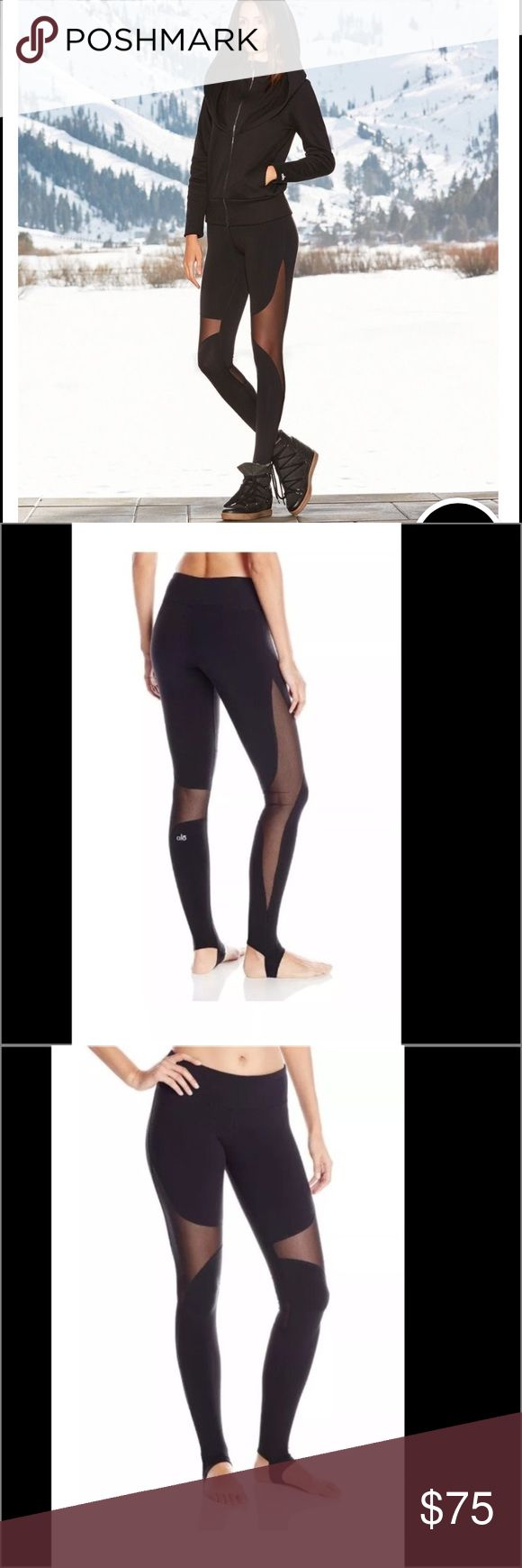 Alo yoga coast leggings in black. Mesh detail.  Never worn just no tags ALO Yoga Pants Leggings