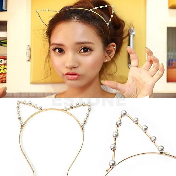 Rhinestone/pearled Cat Ear Head Band
