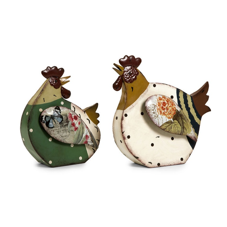 Imax Set Of Two Rosalea Roosters -