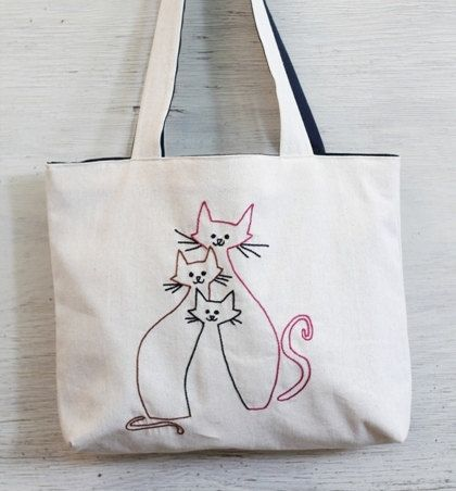 tree cats shoulder bag / minimalist line drawing / embroidery modern / reusable bags handmade