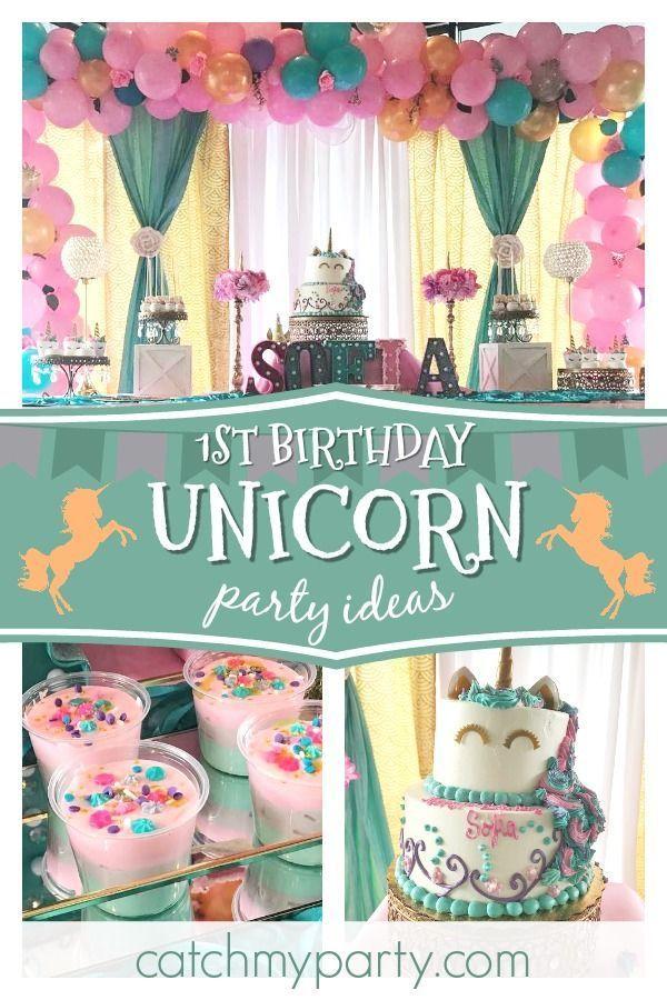 Unicorn Birthday Sofia S Unicorn First Birthday Party Catch My Party Unicorn Themed Birthday Party Unicorn Birthday Parties Unicorn Birthday