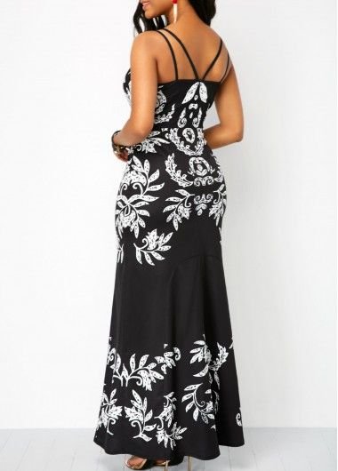 Printed Sleeveless Open Back Maxi Dress Liligal Usd 3963