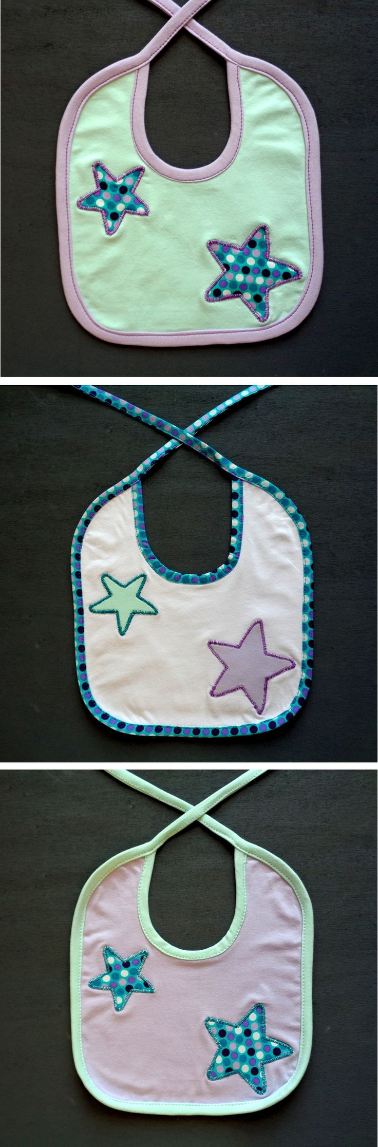 Set of three bibs, star applique, coordinated bibs, mint green lilac, gift for mom, gift for baby, polka dot baby shower, boy girl newborn - handmade by #RobyGiup