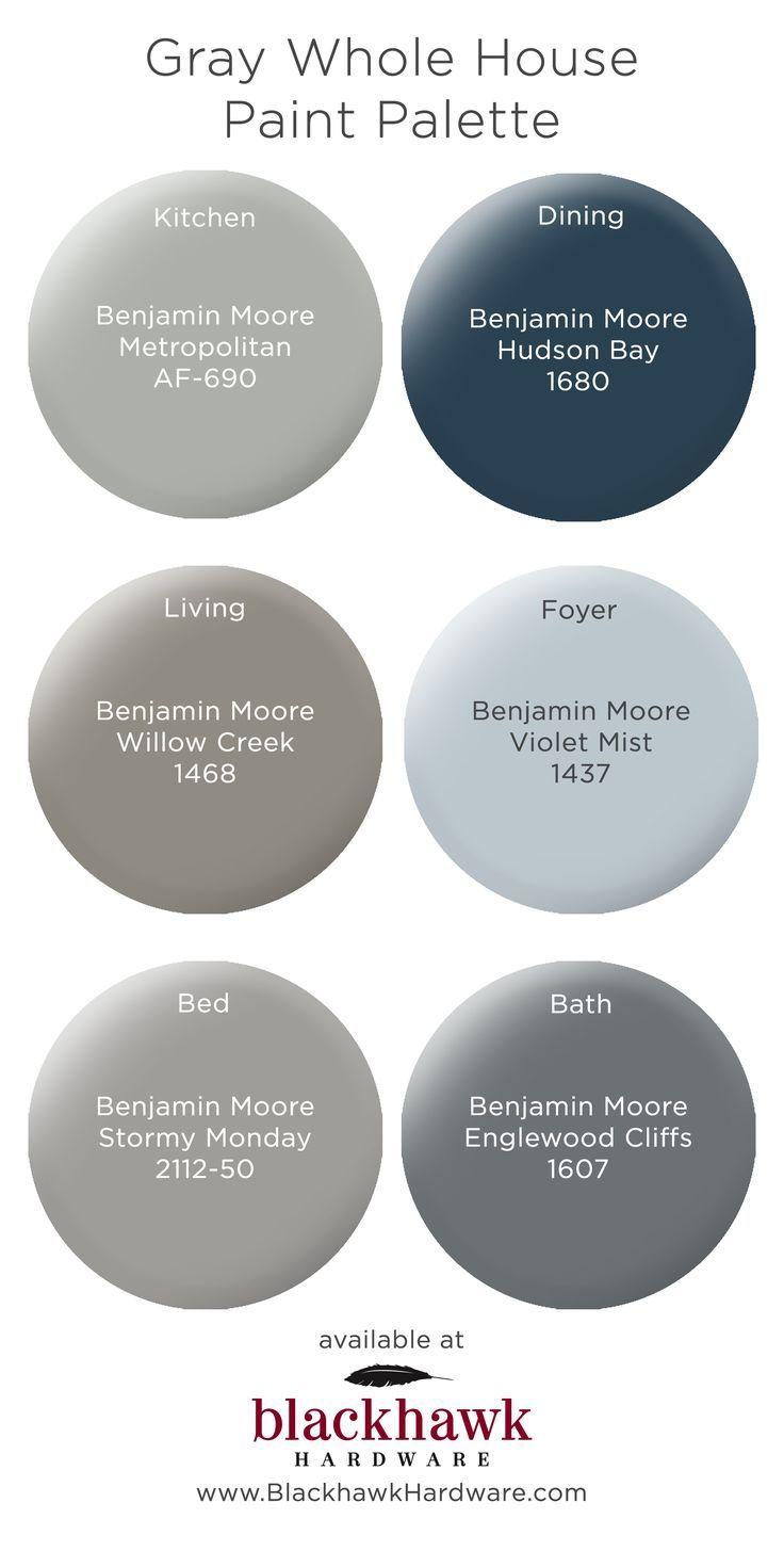 Gray Whole House Benjamin Moore Paint Palette Blue Bedroom Paint House Color Schemes Paint Colors For Home