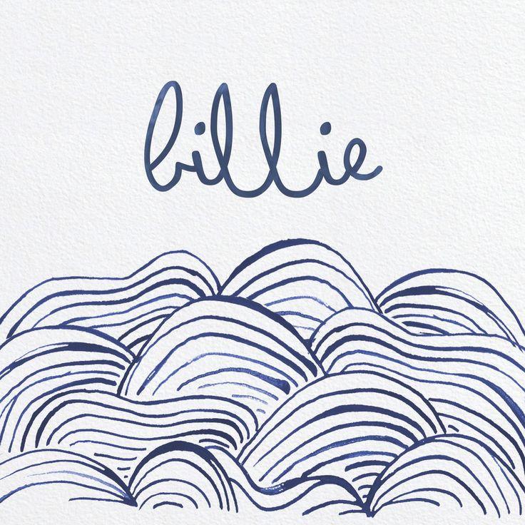 Billie! Geboortekaartje, geboortekaartjes, babyboy, kaartje jongen, waves, oceaan, inkt, handmade, illustratie, betaalbaar, gratis proefpakketje. Check de site.  Studionouk kaartjes!