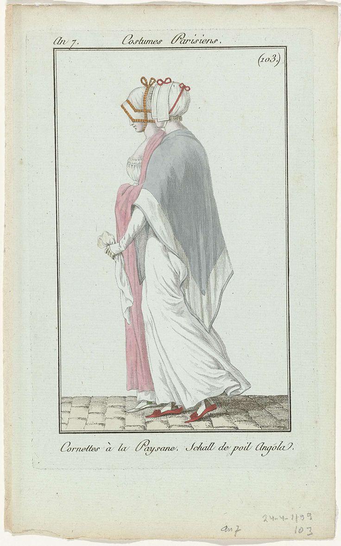Journal des Dames et des Modes, Costume Parisien, 24 avril 1799, An 7, (103.(bis)) : Cornettes à la Paysane..., Anonymous, 1799