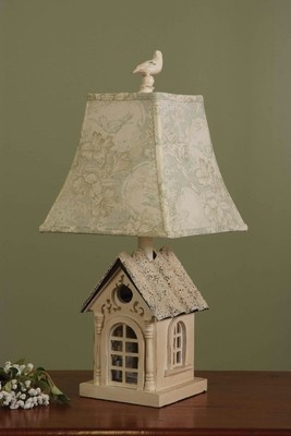 French Country Bird House Lamp Set *2 SOLD IN SET