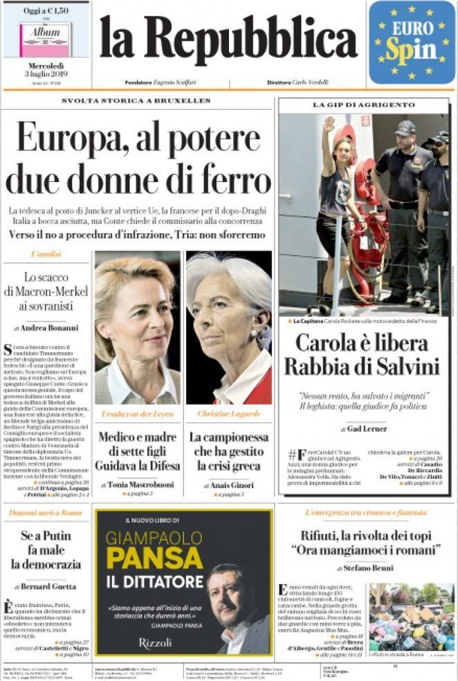 Prima Pagina La Repubblica Giornalone Repubblica Primati Copertina