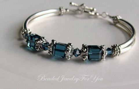 Antiqued Pewter Montana Blue Swarovski Crystal Bridesmaid Bangle Bracelet