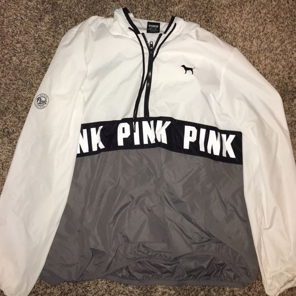 Vs rain jacket/wind breaker White and Grey VA rain jacket/ wind breaker.. Worn twice PINK Victoria's Secret Jackets & Coats Utility Jackets