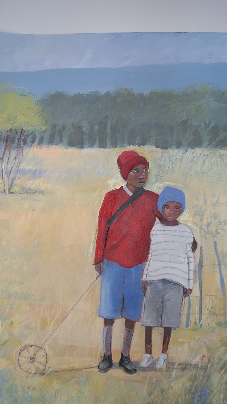 "Brothers by julia cairns mixed media ~ 24"" x 18"""