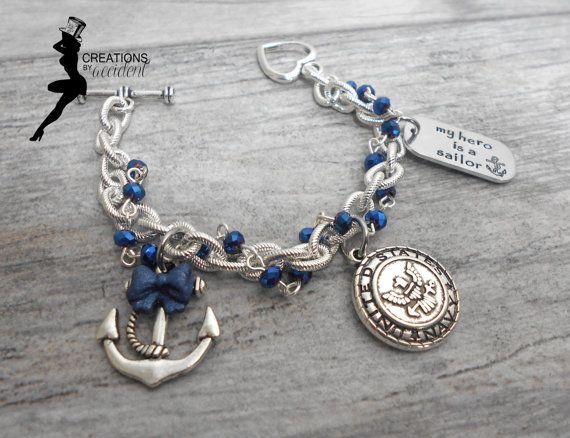 Navy Bracelet USN Bracelet Navy Wife by CreationsbyAccident