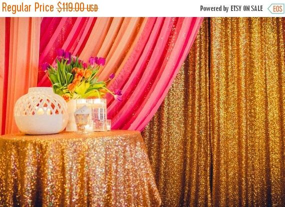 ON SALE 10 Yard  Gold sequin fabric , Sequin tablecloth fabric,  Sequin photo booth, Sparkly Glam ,Mesh Sequin Fabric Bright Gold, Wholesale by MyBarkatVilla on Etsy https://www.etsy.com/listing/213681462/on-sale-10-yard-gold-sequin-fabric