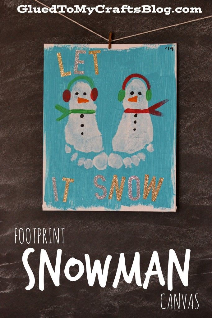 Footprint Snowman Canvas craft for kids. #wintercraft #snowman #preschool