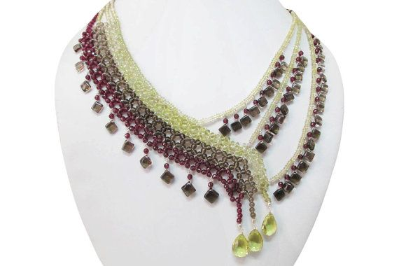 Designer Garnet & Smoky Quartz with Lemon quartz by anushruti