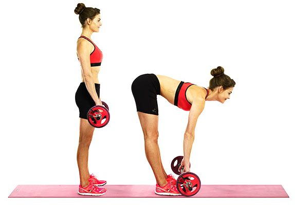 """Stiff leg deadlift. """"This is one of my favourite exercises for hitting the lower body"""". Stiff-leg deadlifts can be performed with either dumbbells or a barbell. Maintain control throughout the whole exercise and repeat the movement as many reps as possible without rushing for one minute. Focus on form, quality is crucial with this exercise not quantity."""