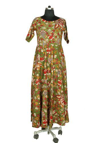 Green Kalamkari Dress – Desically Ethnic