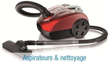 aspirateurs et nettoyage - aspirateurs avec ou sans sac/aspirateurs balais/entretien tapis et sol/mini-asirateurs/ nettoyeurs à vapeur/ramasse-miettes