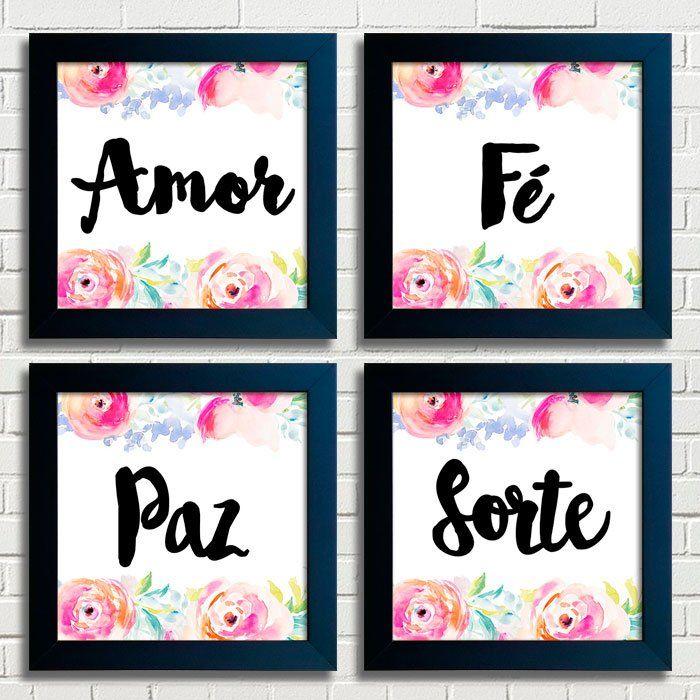 Kit de Quadros Amor Paz Fé Sorte Encadreé Posters                                                                                                                                                                                 Mais