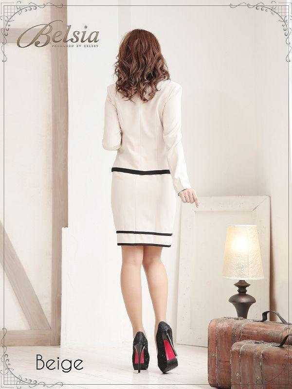 画像4: 【XLサイズ追加!!】【BELSIA】美セレブワンピーススーツ フォーマルスーツやナイトスーツにバッチリ ベルシア パイピングでメリハリ感なノーカラーワンピーススーツ(S/M/L/XL)(ベージュ),式スーツ 女性 フォーマル (4)