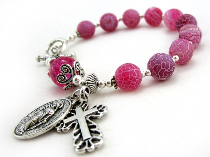 Vigil Bracelet Rosary $18.00 - One Decade Agate Bracelet Rosary. Frosted Dragon's veins Agate, crackled glass, and Tibet silver on tigers tail wire.