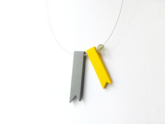 geometric minimal grey and yellow ribbons necklace  by pergamondo