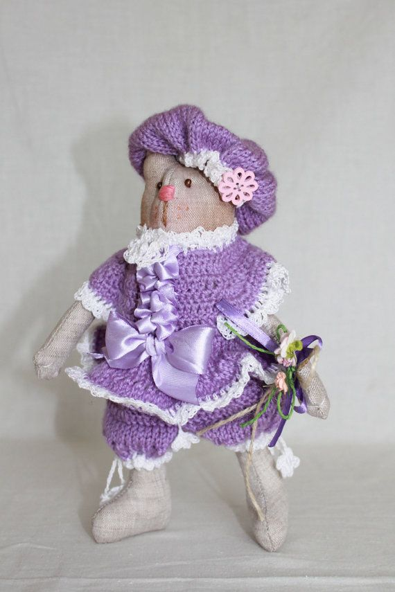 gift for girls cat dressed textile doll cute by wooltoysUkraine