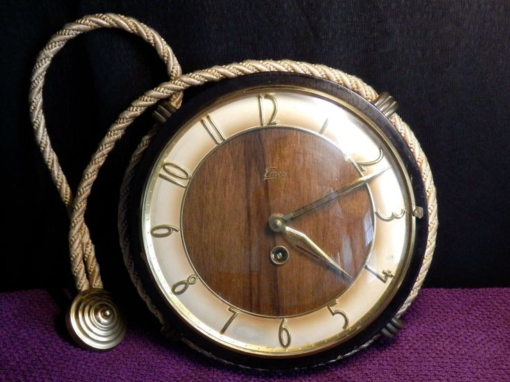 Vintage RARE wooden midcentury rope hanging wind-up clock watch EMES Germany jammed | eBay