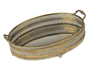 Vassoio in metallo e fondo specchiato Antique - 45x13x32 cm