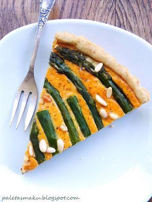 Paleta Smaku: Tarta z zielonymi szparagami, szpinakiem i czerwonym pesto i kremowa zupa ze szparagów