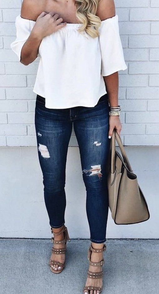 #summer #outfits White Off The Shoulder Top