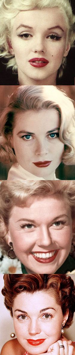 Marilyn, Grace Kelly, Doris Day and Esther Williams with classic 1950s makeup