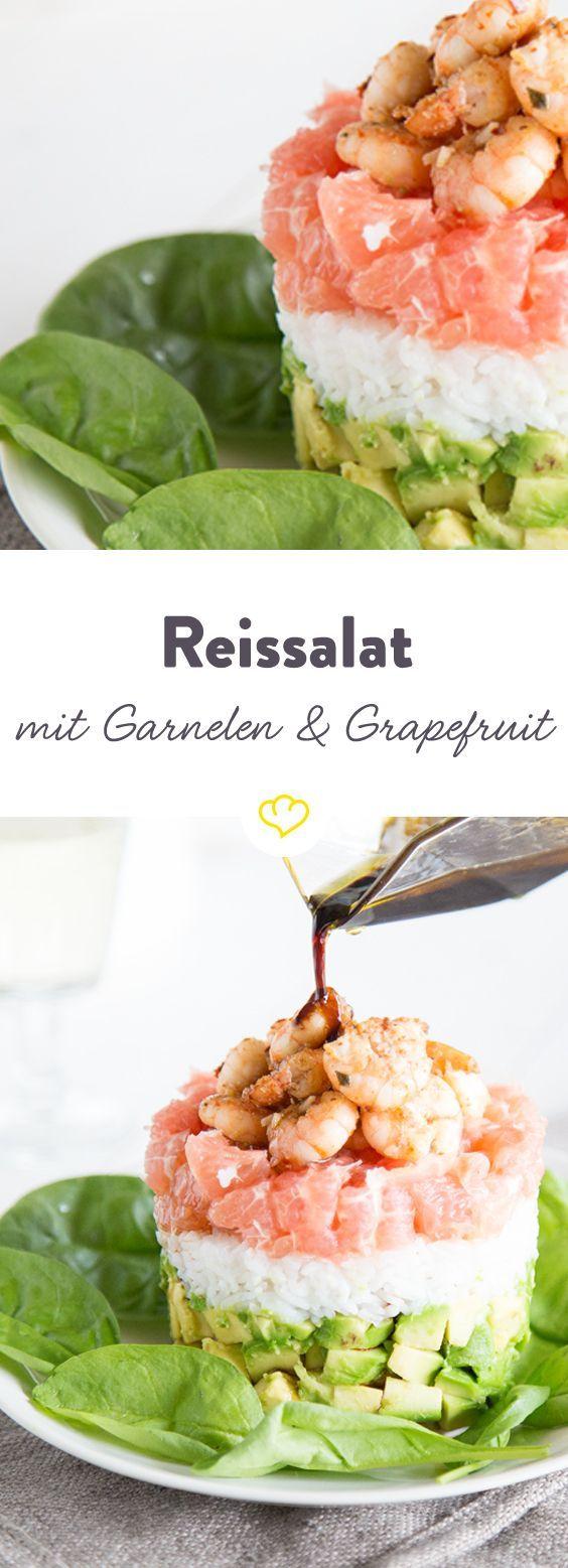 Hübscher Hochstapler! Reissalat mit Garnelen und Grapefruit