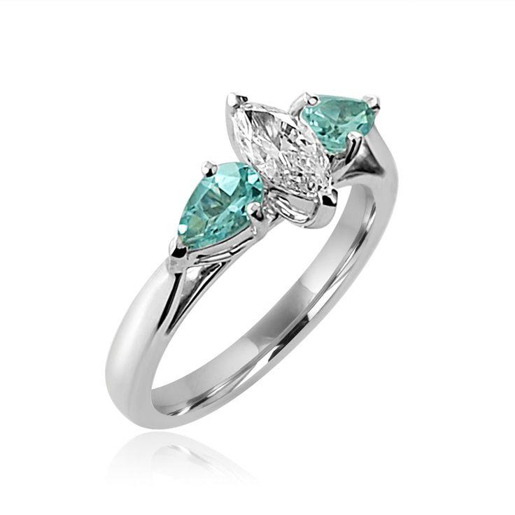 Fine Jewelry Womens Color Enhanced Blue Aquamarine Sterling Silver Side Stone Ring dSCZjM4fd