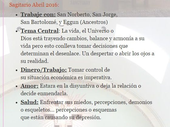 Sagitario Abril 2016