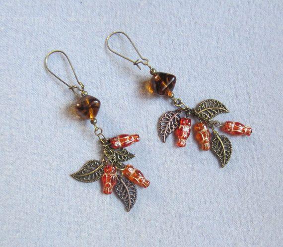 Orange Czech Glass Owl Earrings Antique Brass by RegardingLove