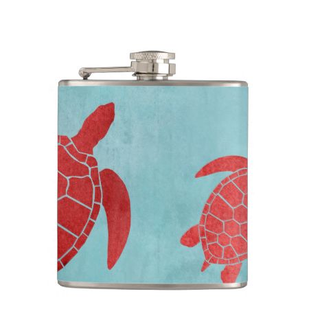 Red and Blue Green Sea Turtle Flasks