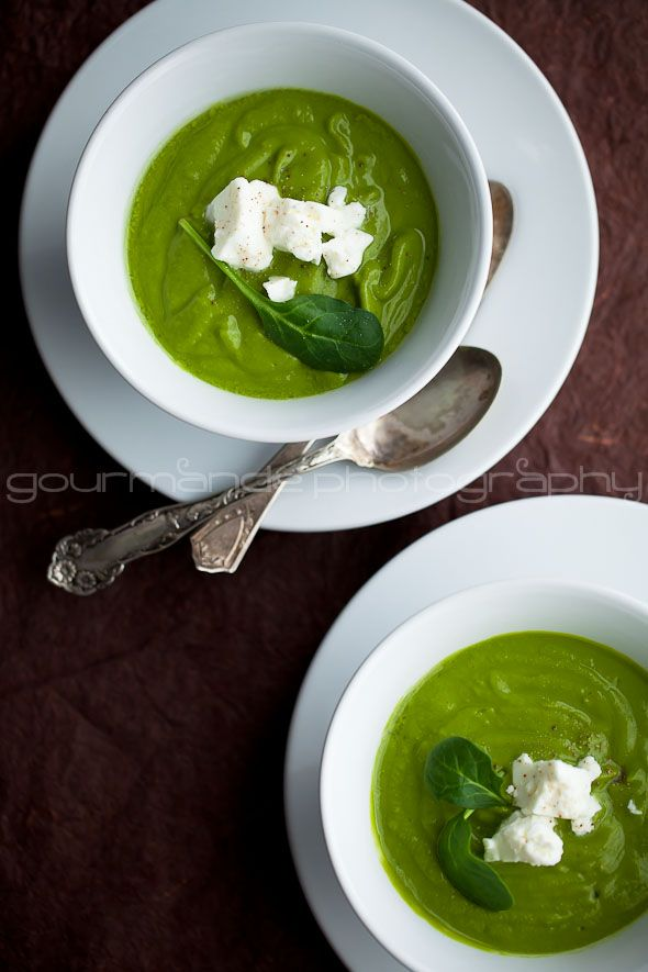 Creamy Broccoli Spinach Soup Topped with Feta