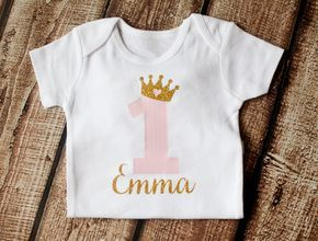 Erster Geburtstag Outfit 1. Geburtstag Outfit Erster Geburtstag Mädchen Outfit Personalisierte Mädchen Gold Pink Princess Shirt BODYSUIT ONLY